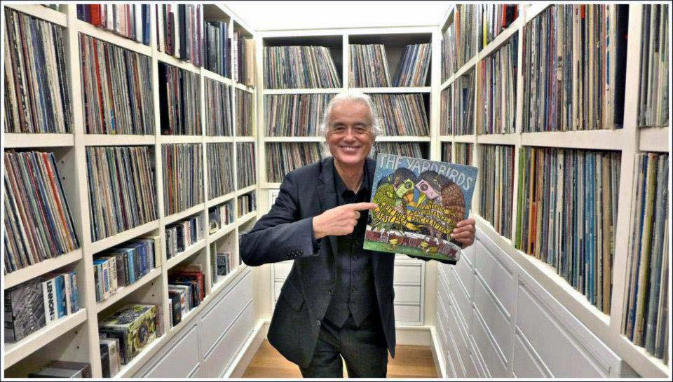 Jimmy Page e la sua collezione di dischi..